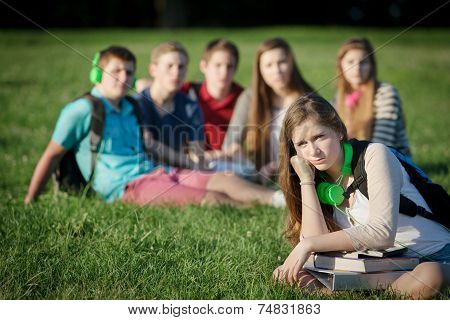 Lonely Teen With Group