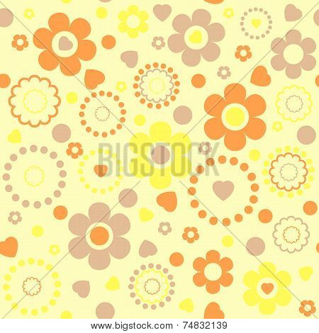 Seamless Floral Pattern In Yellow Tones
