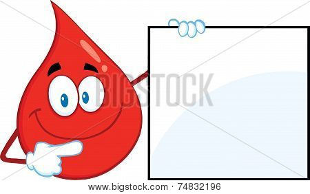 Red Blood Drop Cartoon Mascot Character Showing A Blank Sign