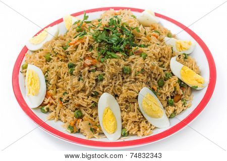 English-style breakfast kedgeree, a meal of rice, smoked fish, eggs and vegetables.