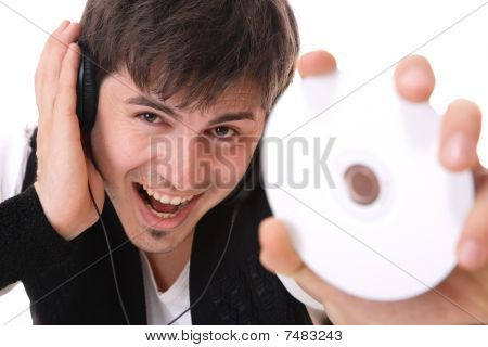 Young Guy Holding A Compact Disc