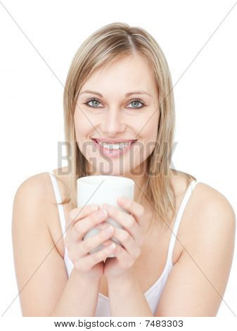 Portrait Of A Blond Woman Drinking Cofee