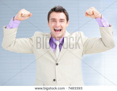 Jolly Businessman Puniching The Air