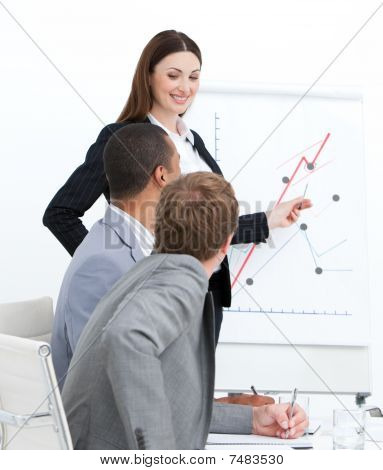 Smiling Woman Doing A Presentation