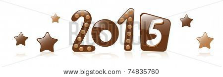 new year 2015 chocolate isolated on white