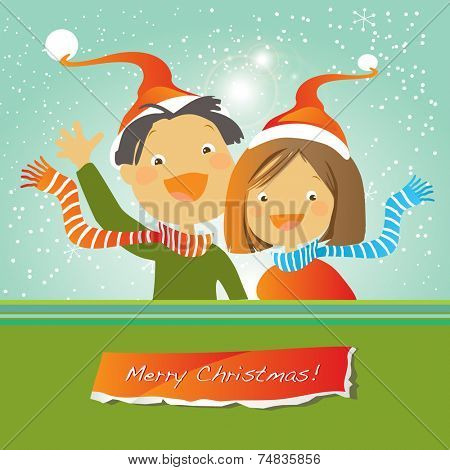 Vector merry christmas greeting card, happy kids