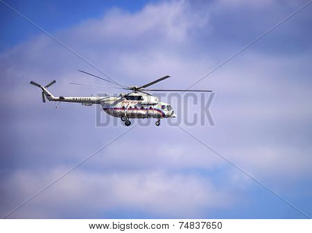 Russian President`s Helicopter In The Cloudy Skies
