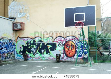 Basketball Yard Painted In Graffiti