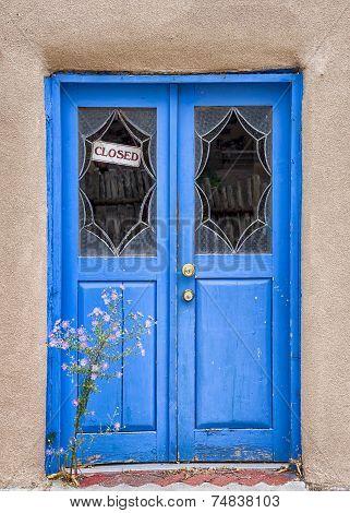 Flowers In Front Of A Santa Fe Gallery Door