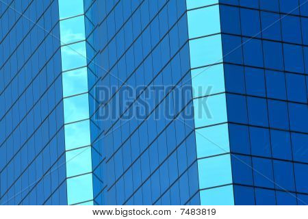 Abstract Blue Windows Of Building