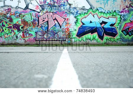 Colorful Wall With Graffiti