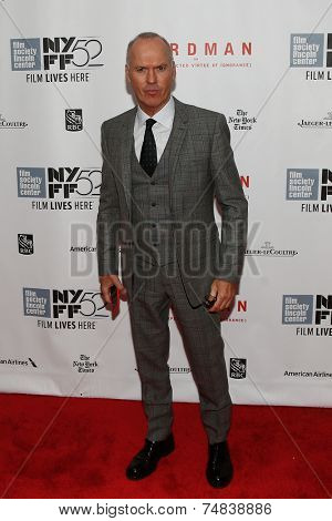 NEW YORK-OCT 11: Actor Michael Keaton attends the 'Birdman Or The Unexpected Virtue Of Ignorance' premiere at the 52nd New York Film Festival at Alice Tully Hall on October 11, 2014 in New York City.