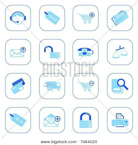 Sale and shopping icons, blue series