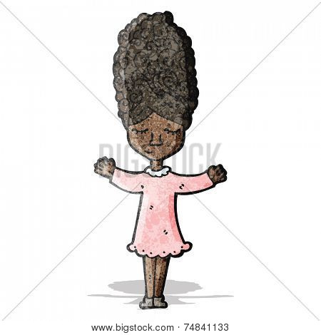 cartoon woman with bee hive hair style