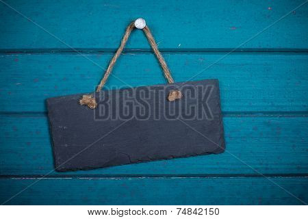 Empty Signboard With Rope Hanging On Planks Background...
