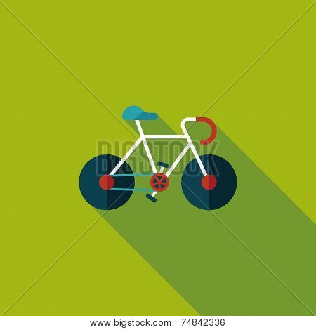 Bicycle Flat Icon With Long Shadow,eps10