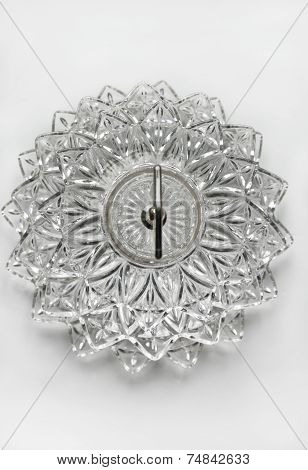 Crystal dish with layered glass pattern