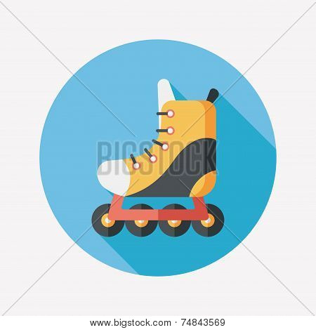 Roller Skates Flat Icon With Long Shadow,eps10