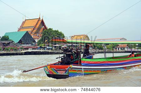 Tourist Pirate Boat On The Chao Phraya River In Bangkok