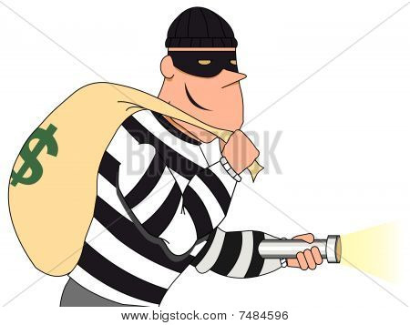 Portrait of Burglar holding bag of money and flashlight