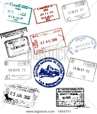 Various North America South And Europe Passport Stamp Vector Graphics Poster ID 7484701