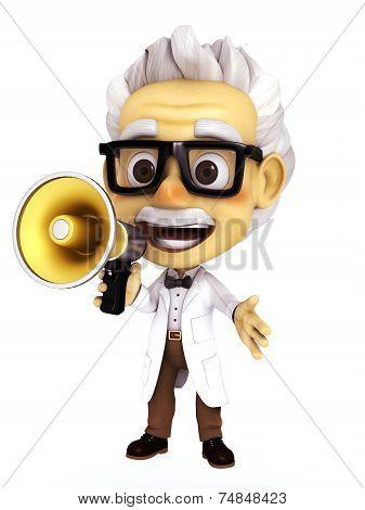 Professor with megaphone