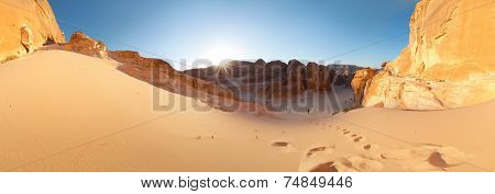Panorama of the desert with mountains. Sinai, Egypt