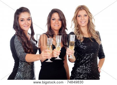 Group of friends toasting with champagne in a celebration during christmas