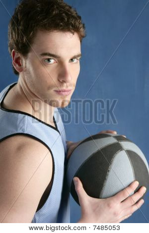 Basket Player Young Man Over Blue