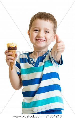kid eating ice cream and showing okay sign