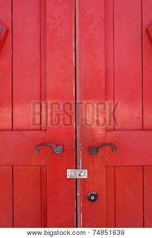old wooden red door