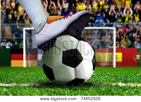 Soccer Player Getting Ready For Penalty Kick