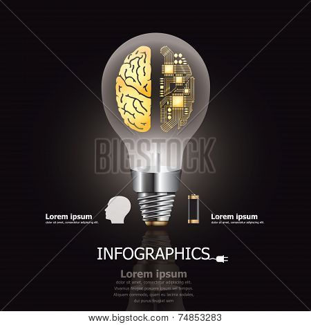 Light Bulb Brain And Electric Circuit Business And Education Infographic