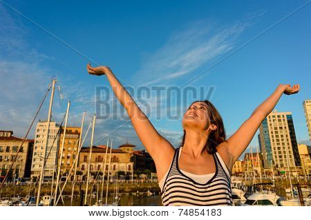 Joyful Tourist Enjoying European Summer Vacation