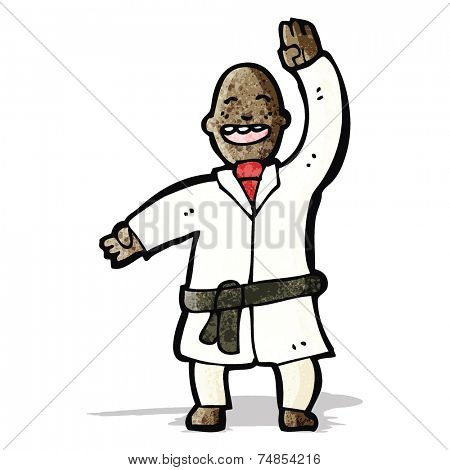 cartoon man judo chopping