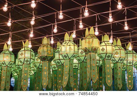 Northern Thai Style Lanterns At Loy Krathong Festival