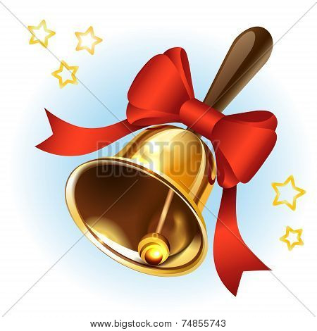 Christmas Gold Bell With A Red Ribbon