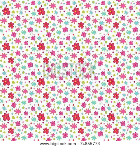 Seamless Pattern Of Small Flowers On White.