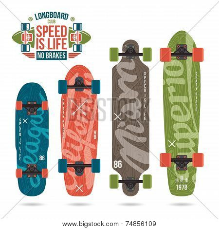 Set Of Prints On Longboard