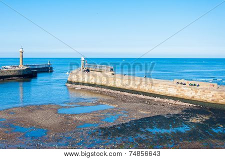 Scenic View Of Whitby Pier In Autumn Sunny  Day