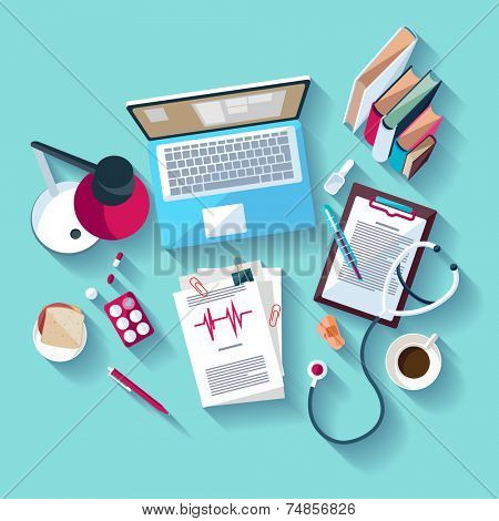Medical workplace. Flat design.