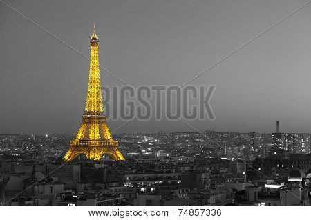 Illuminated Eiffel Tower With Black And White Paris