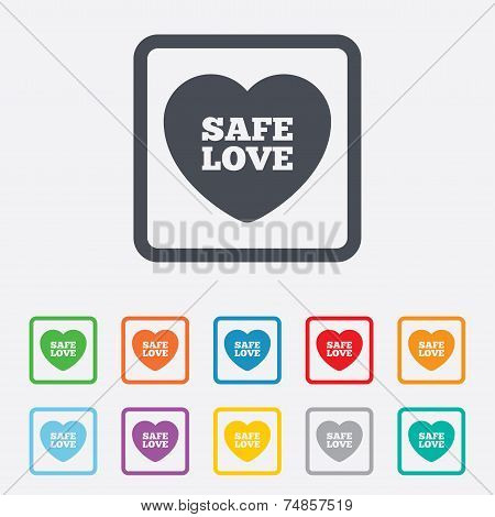 Safe love sign icon. Safe sex symbol.