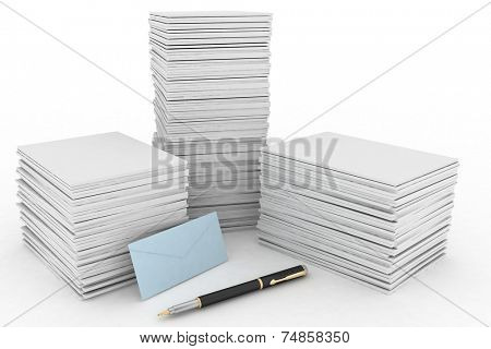 3d render illustration big pile of paper, mail envelope and pen on white background