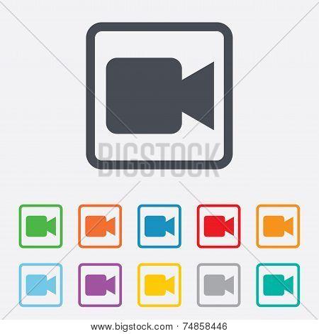 Video camera sign icon. Video content button.