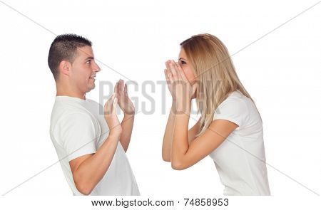 Funny couple simulating a discussion isolated on a white background