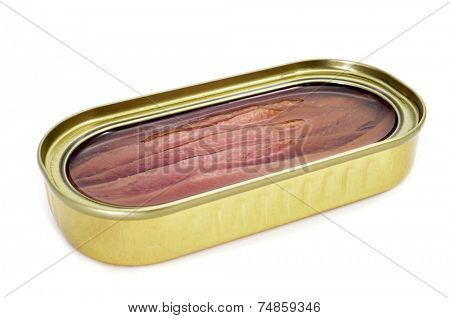 an open can of anchovies on a white background