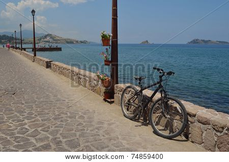 Mountain Bike on Petra Seafront Lesvos