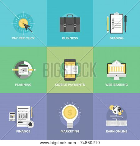 Business And Financial Web Services Flat Icons