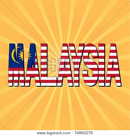 Malaysia flag text with sunburst vector illustration